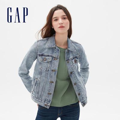 Gap女裝做舊翻領胸袋牛仔衣春443760 2020新款洋氣上衣女士外套潮