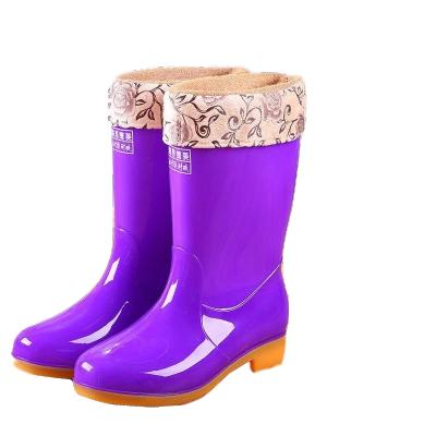 下雨鞋PU雨靴防水鞋胶鞋套鞋水靴女冬季时尚保暖中筒女士成人防滑 衫伊格(shanyige)