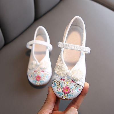 佐歐雅2020漢服鞋子兒童女童繡花鞋古裝公主鞋手工復古鞋中國風布鞋子