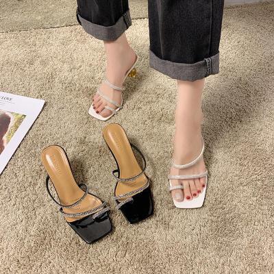 水鉆拖鞋女仙女風2020夏季新款方頭高跟鞋夾趾高跟細跟人字涼拖鞋