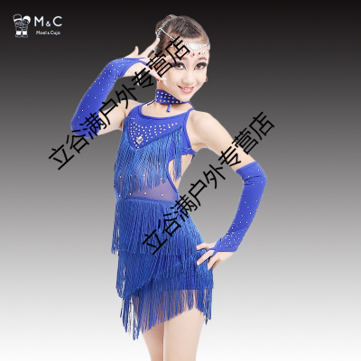 新款兒童拉丁舞演出服女童比賽考級流蘇拉丁舞裙少兒表演練功服裝