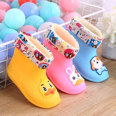 時尚雨鞋兒童保暖加棉防滑水鞋寶寶雨靴男女可愛卡通保暖 TCVV