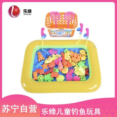 乐缔儿童钓鱼玩具戏水磁性钓鱼池套装小孩宝宝益智玩具1-3岁