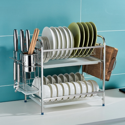 卡贝水槽厨房置物架碗碟水池收纳架水槽上方碗架沥水架碗筷收纳盒 【简易款】双层碗架(送2钩)