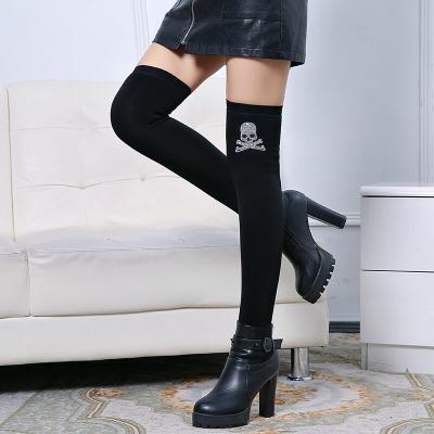 襪套女過膝秋冬加絨加厚護膝襪套長筒襪保暖踩腳襪子長款護腿腳套平口骷髏頭加絨均碼