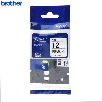 兄弟(brother)TZe-Z231標簽機色帶/碳帶 白底/黑字 12mm 彩色 原裝正品