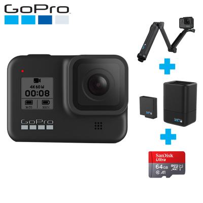 GoPro hero8運動相機水下潛水 4K戶外直播防水攝像機vlog 官方標配+三向+雙充+64G卡