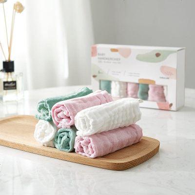 babycare嬰兒紗布毛巾口水巾 寶寶洗臉毛巾兒童洗臉純棉小方巾 6條裝 5282