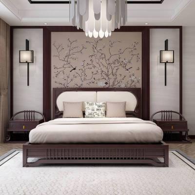 梦引 新中式酒店别墅实木床禅意1.8米双人床小户型1.5米卧室成套家具