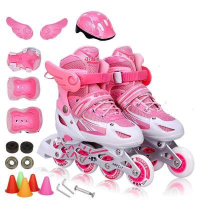 溜冰鞋兒童全套裝小孩旱冰鞋滑冰鞋成人輪滑鞋男童女童閃光可調節