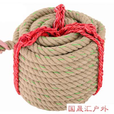 运动户外拔河绳 体育粗麻绳花布料柔软拔河比赛幼儿园单位力量趣味绳子特惠放心购