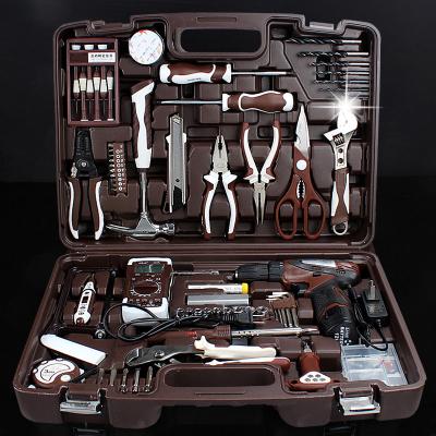 五金工具箱阿斯卡利套装 维修电工组套 多功能家用手动组合电钻 奢华版E094(无线锂电钻)