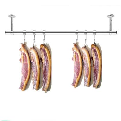 定制阳台固定式晾衣杆25加厚不锈钢挂衣杆晒衣架单杆墙吊顶装 杆长1.8米+25cm高(送风勾)