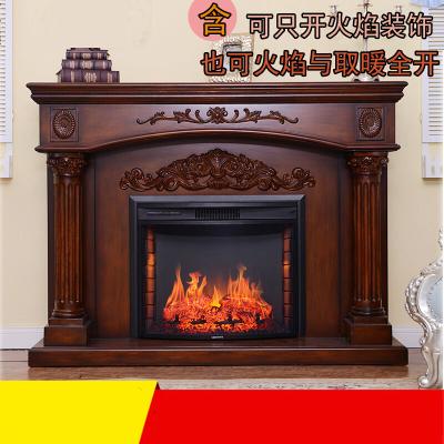 家具好店1.2米欧式壁炉装饰柜 美式实木简约壁炉架 仿真火壁炉芯放心购