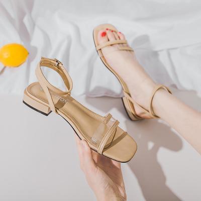 跨洋(KUAYANG)2020年夏季新款一字帶涼鞋女仙女風百搭中粗跟低跟一字扣女鞋子女L