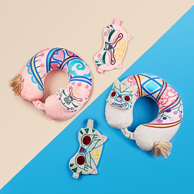 這就是手藝原創民族風老虎圖案睡覺神器旅行套裝組合U型枕+眼罩 U型枕粉色女款