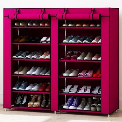 家时光 金属简易鞋柜鞋架多层铁艺家用收纳防尘多功能布鞋柜简约经济型