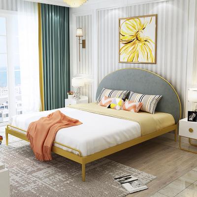 尋木匠北歐風鐵藝床半圓軟包靠背1.5米1.8米雙人床網紅鐵藝公主床鐵架床