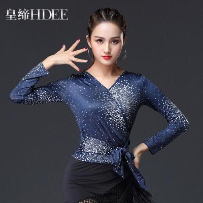 因樂思(YINLESI)國標舞上裝新款女拉丁舞上衣摩登交誼舞服裝練習練功春夏新款