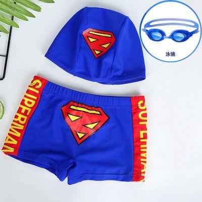 男童泳裤套装泳镜儿童泳衣卡通平角分体游泳衣小孩宝宝婴儿游泳裤 莎丞
