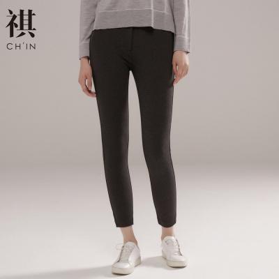 【3件1.5折价:34.5】CHIN祺女装针织裤秋季新款长裤OL风格灰黑色直筒ol上班女款休闲打底