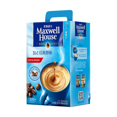 麦斯威尔经典原味速溶咖啡 1300g/盒(100条礼盒装)(新老包装随机发货)