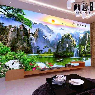 惠菲乐 大型壁画中式山水客厅电视背景墙壁纸3d客厅沙发5d流水生财迎客松影视墙墙纸定制 价格按平方米算(高X宽) 每1平