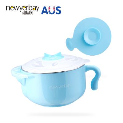 纽因贝注水保温碗 儿童餐具宝宝注水保温碗吸盘碗婴儿辅食碗400ML 蓝色款