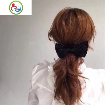 韓國網紅同款大號黑色絲絨蝴蝶結發夾彈簧夾馬尾夾長夾夸張發飾 JING PING水晶頭飾