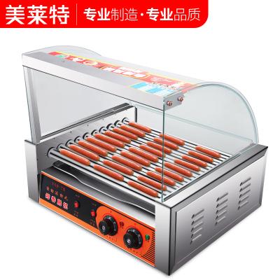 美萊特YXD-10臺灣香腸機全自動雙溫控熱狗機小型商用10管烤腸機