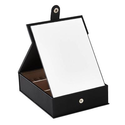 韩版多功能高清化妆镜首饰盒 桌面化妆品首饰收纳盒 PU纯色化妆盒 黑色