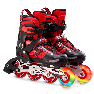 美洲獅(COUGAR)MZS835LSG兒童成人男女閃光可調輪滑鞋旱冰鞋溜冰鞋全套裝