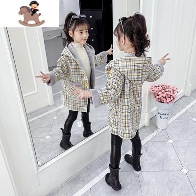 女童洋氣毛呢外套秋冬裝2019新款女孩加絨加厚中長款兒童呢子大衣