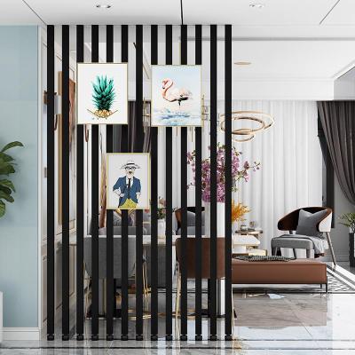 簡約現代屏風隔斷閃電客客廳臥室入戶玄關鐵藝立柱子隔斷免打孔豎條裝飾