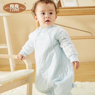良良 嬰兒睡袋 寶寶分腿睡袋防踢被新生兒春秋四季通用幼兒童純棉睡袋 85cm