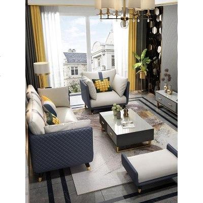 HOTBEE后現代輕奢沙發布藝簡約轉角小戶型美式輕奢沙發北歐風格意式極簡