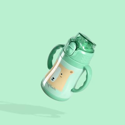 babycare兒童保溫杯帶吸管防摔幼兒園寶寶喝水杯子學飲杯嬰兒水壺 把手款-淺嗬綠 2930
