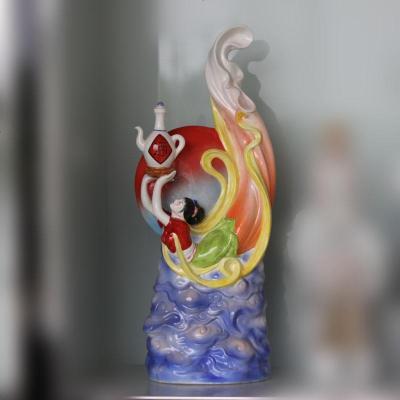 景德镇飞天陶瓷瓷器雕塑摆件 飞天陶瓷瓷器酒瓶