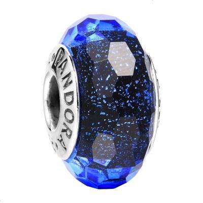 PANDORA潘多拉 925银串饰 闪耀蓝色切割面琉璃 791646