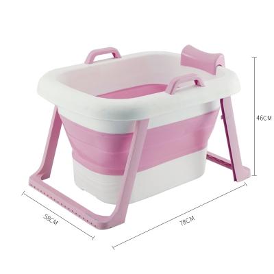 嬰兒洗澡盆折疊沐浴盆泡澡桶成人折疊浴桶智扣加厚家用嬰童浴盆兒童款折疊粉色(上下)