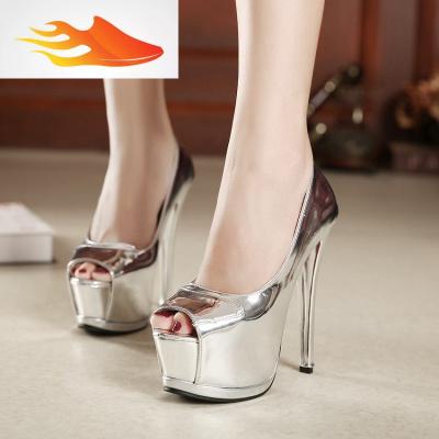 FISH BASKET歐美銀色超高跟鞋15CM夜店性感細跟單鞋防水臺淺口魚嘴鞋時尚女鞋