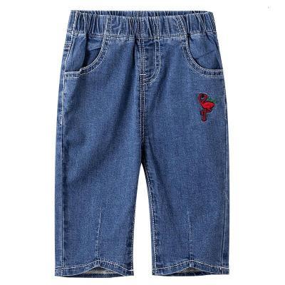 青蛙皇子女童牛仔短褲薄款洋氣寬松女大童外穿百搭褲夏裝中褲
