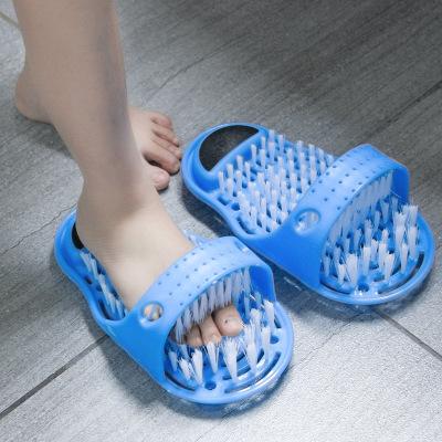 家用洗腳神器洛滑懶人刷腳鞋清潔腳底皮刷子磨腳石網紅搓腳拖鞋子 藍色