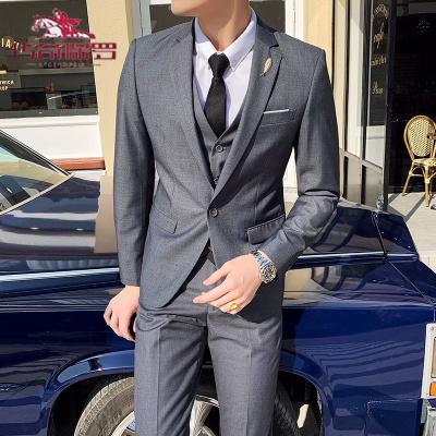 傳奇保羅(CHUANQIBAOLUO西裝套裝男修身韓版潮帥氣中青年小西服休閑外套結婚男士三件套