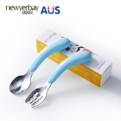纽因贝儿童不锈钢叉勺套装 宝宝学吃饭勺子叉子餐具婴儿辅食碗勺两件套 蓝色款