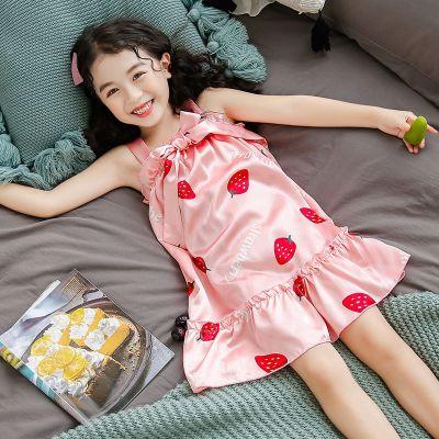 女童睡衣夏寶寶吊帶兒童睡裙可愛公主冰絲小女孩中大童母女家居服臻依緣