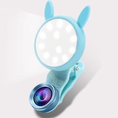 主播嫩膚拍照神器自拍美顏手機廣角鏡頭補光燈攝像頭網紅|六擋光暖+白-送充電線-(清淡藍)