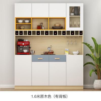 定制餐邊柜酒柜一體現代簡約柜子儲物柜客廳靠墻茶水廚房碗柜家用定制 1.6米E款/原木色(有背板) 6門以上