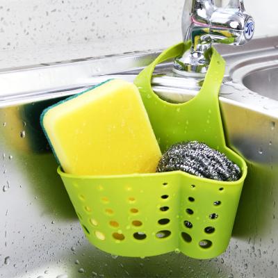 閃電客廚房水塑料瀝水籃子收納掛籃廚房小用品廚具置物架收納架瀝水架 清新綠一個裝