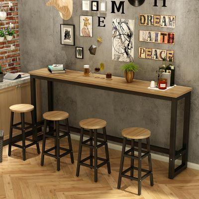 云青丞 靠墻吧臺桌家用客廳小吧臺長條桌窄桌奶茶店高腳桌椅組合咖啡桌歐因